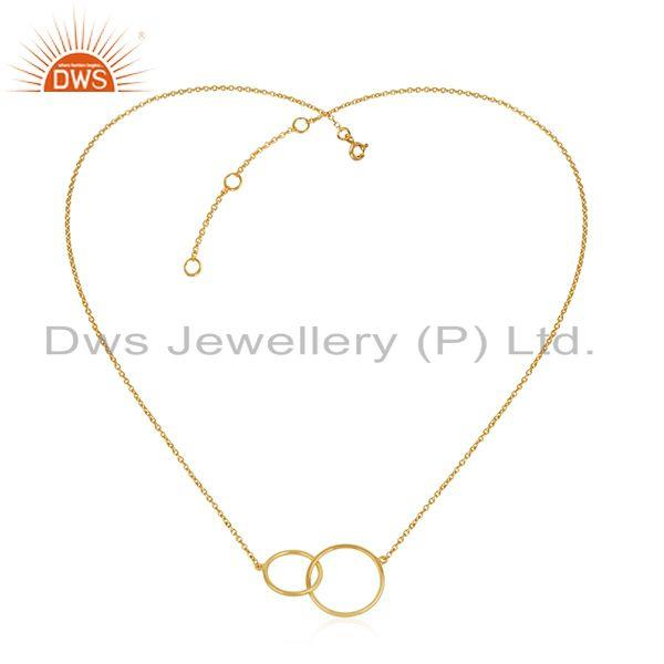 Exporter Yellow Gold Plated Designer Silver Chain Link Design Necklace Jewelry