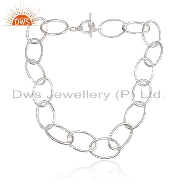 Exporter Handmade Fine Sterling Silver Chain and Link Necklace Manufacturer Jaipur