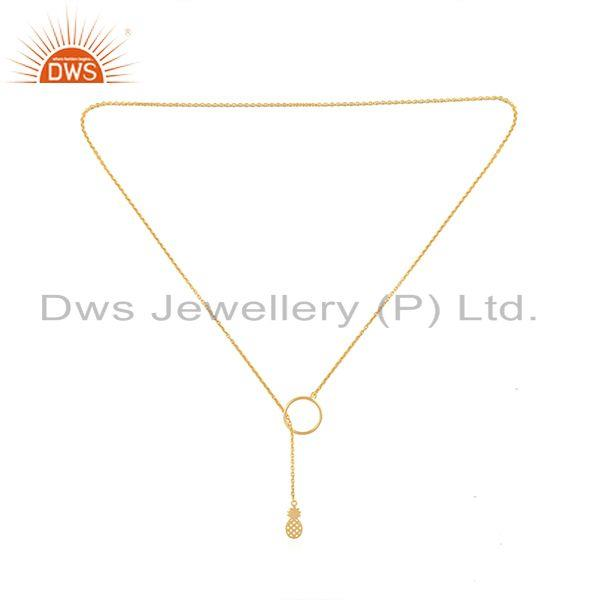 Exporter Pineapple Design Pendant Gold Plated 925 Silver Chain Necklace