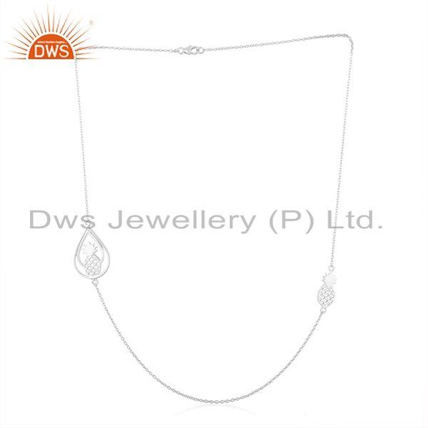 Exporter Pineapple Design Fine Sterling Silver Chain Necklace Manufacturer in India