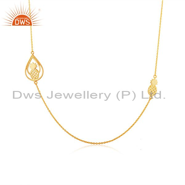 Exporter PineApple Design 925 Sterling Silver Yellow Gold Plated Chain Necklace Wholesale
