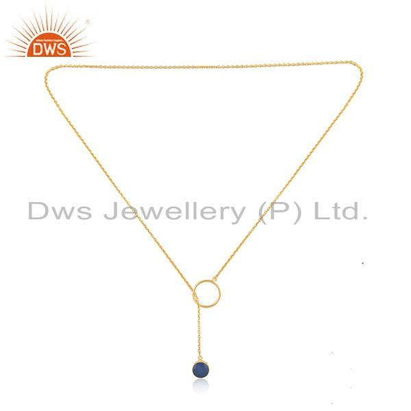 Exporter Blue Chalcedony Gemstone Pendant 925 Silver Gold Plated Chain Necklace Supplier