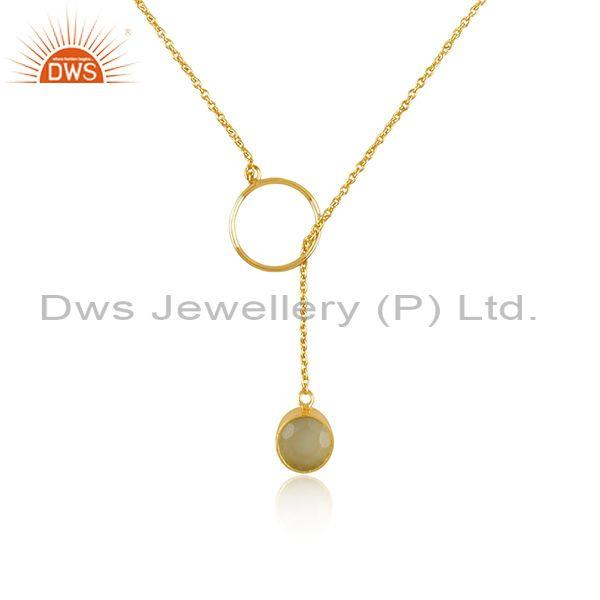 Prehnite chalcedony set gold on 925 silver pendant and chain