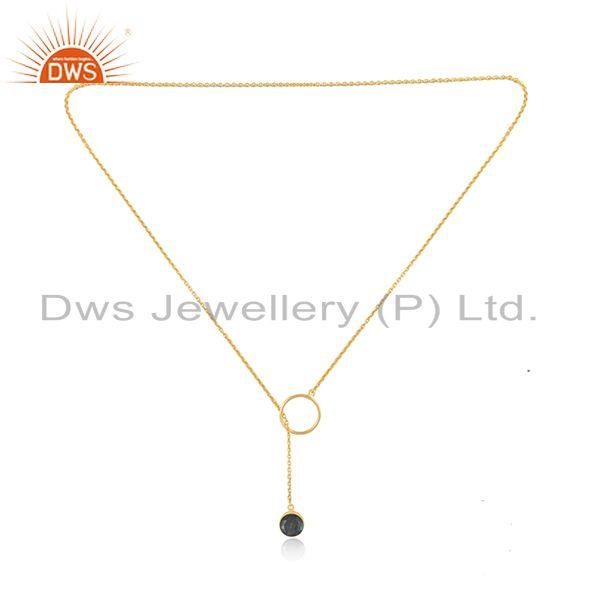 Exporter Natural Labradorite Gemstone 925 Silver Gold Plated Chain Pendant Necklace