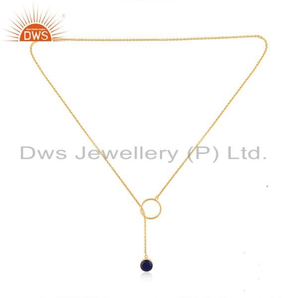 Exporter Gold Plated 925 Silver Lapis Lazuli Gemstone Pendant Chain necklace Manufacturer