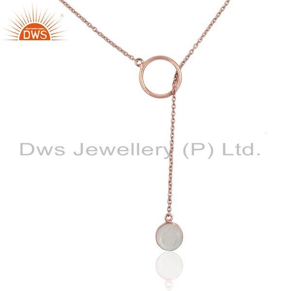 Rainbow moonstone rose gold plated 925 silver chain necklace