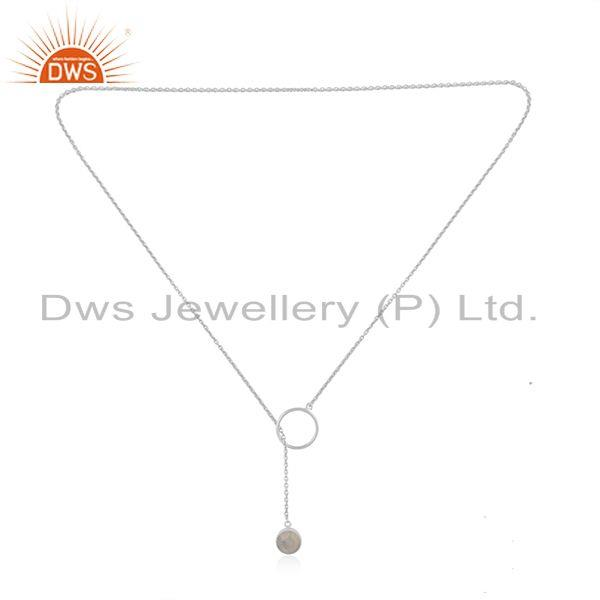 Exporter Fine Sterling Silver Rainbow Moonstone Chain Necklace Pendant Wholesale