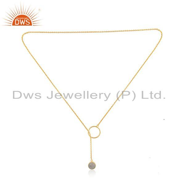 Exporter Rainbow Moonstone Gold Plated 925 Silver Chain Necklace Pendant Manufacturer