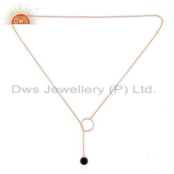 Exporter Black Onyx Gemstone Silver Rose Gold Plated Chain Ring Necklace