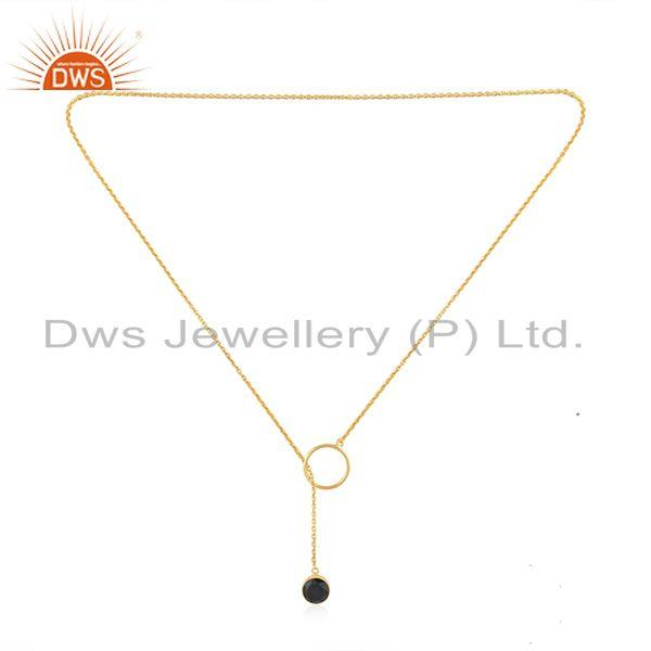 Exporter Black Onyx Gemstone Gold Plated 925 Silver Chain Pendant Necklace Wholesale