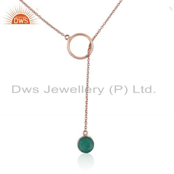 Green onyx gemstone designer rose gold plated silver necklace
