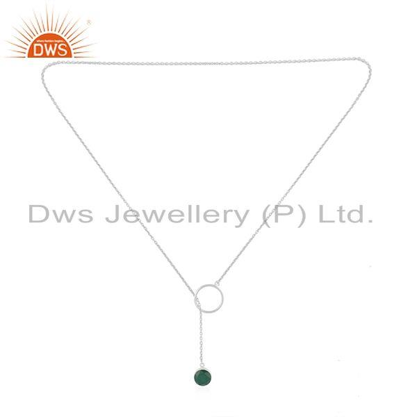 Exporter Green Onyx Gemstone Pendant Manufacturer of Fine Sterling Silver Chain Necklace
