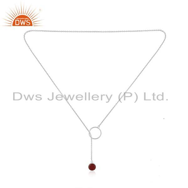 Exporter Supplier of Red Onyx Gemstone Pendant 925 Sterling Fine Silver Chain Necklace