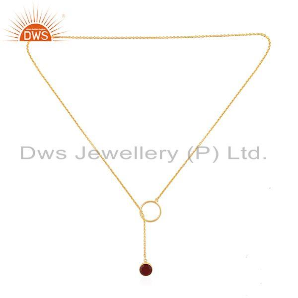Exporter Supplier of Red Onyx Gemstone Pendant Gold Plated 925 Silver Chain Necklace