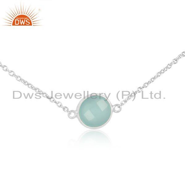 Exporter Fine Sterling Silver Chain Necklace Wholesaler of Chalcedony Gemstone Pendant
