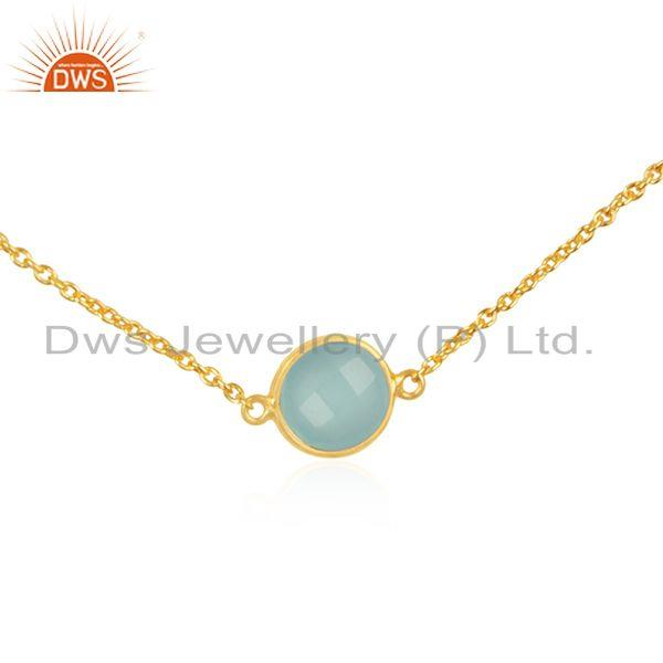 Exporter 18k Gold Plated 925 Silver Chain Necklace Manufacturer of Chalcedony Pendant