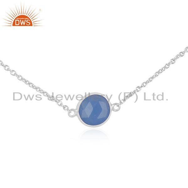 Exporter Blue Chalcedony 925 Sterling Fine Silver Chain Necklace Manufacturer INdia