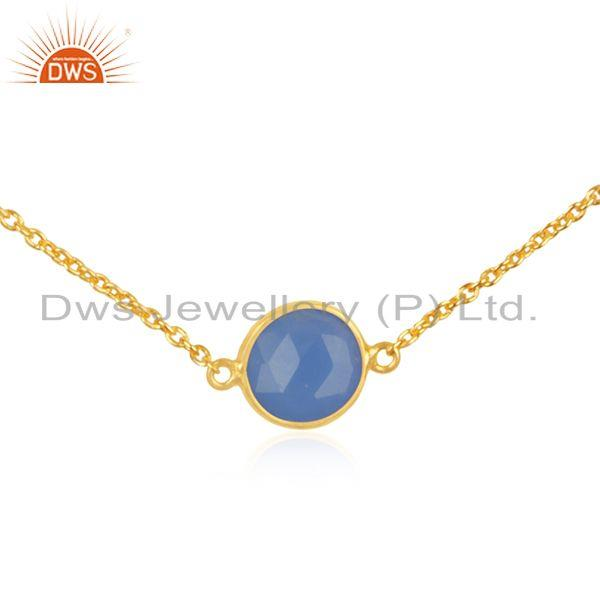 Exporter Blue Chalcedony Gemstone Pendant Gold Plated 925 Silver Chain Necklace Supplier