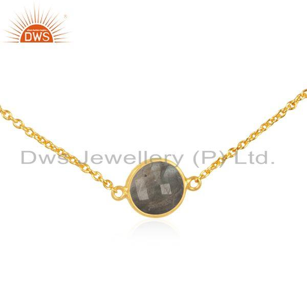 Exporter Gold Plated 925 Silver Chain Labradorite Gemstone Pendant Necklace Suppliers