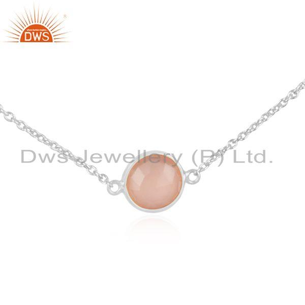 Exporter Fine Sterling Silver Rose Chalcedony Gemstone Chain Necklace Manufacturer INdia