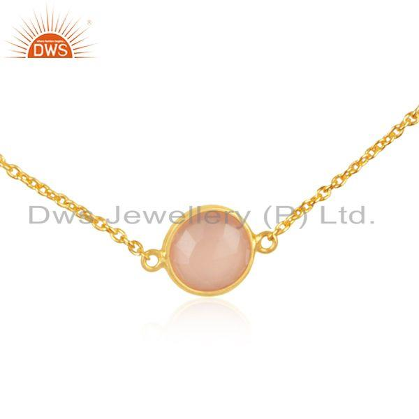 Exporter Rose Chalcedony Gemstone 925 Silver Gold Plated Necklace Wholesale Supplier
