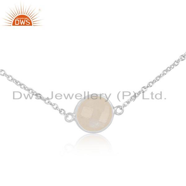 Exporter Rainbow Moonstone Fine Sterling Silver Chain Necklace Manufacturer in Jaipur