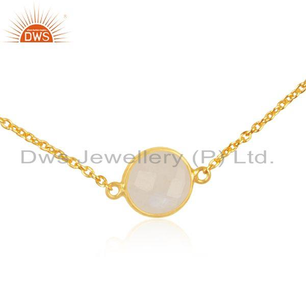 Exporter Rainbow Moonstone 925 Sterling Silver Gold Plated Gemstone Chain Necklace