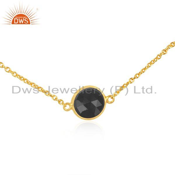 Exporter Gold Plated 925 Silver Black Onyx Gemstone Chain Necklace Wholesale Supplier