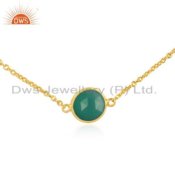 Exporter Green Onyx Gemstone 925 Sterling Silver Gold Plated Necklace Supplier in INdia
