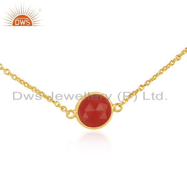 Exporter Red Onyx Gemstone Pendant Manufacturer of Gold Plated 925 Silver Necklace
