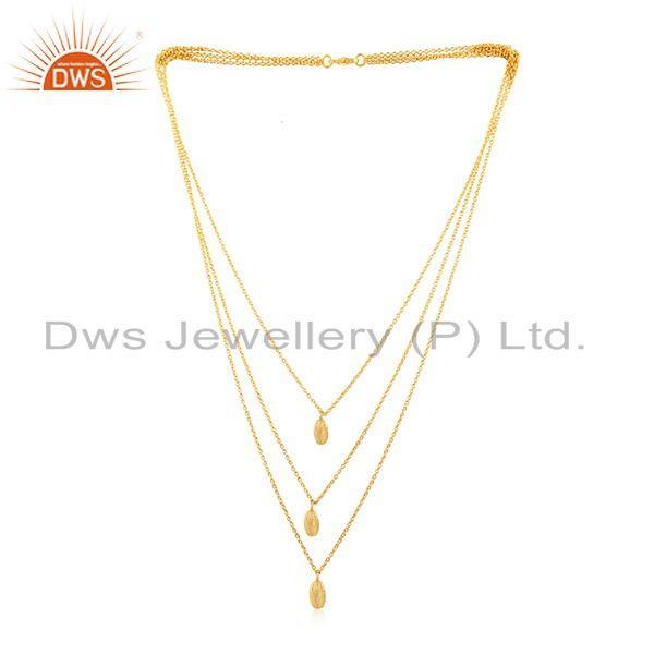Exporter Yellow Gold PLated 925 Sterling Silver Designer Chain Necklace Wholesale