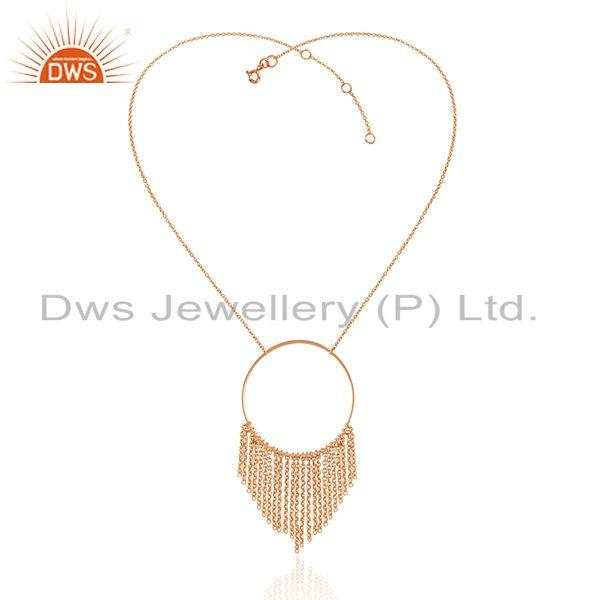 Exporter 18k Rose Gold Plated Plain Sterling Silver Chain Necklace Wholesale