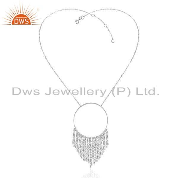 Exporter White Rhodium Plated Sterling Plain Silver Chain Necklace Suppliers