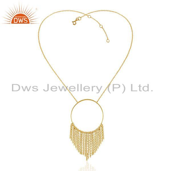 Exporter 18k Yellow Gold Plated Plain Sterling 925 Silver Chain Necklace