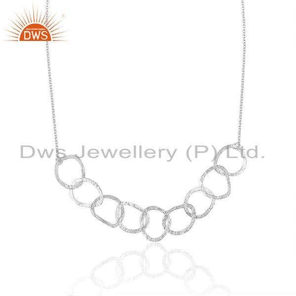 Exporter Indian Handmade Fine Sterling Silver Chain and Link Necklace Wholesale
