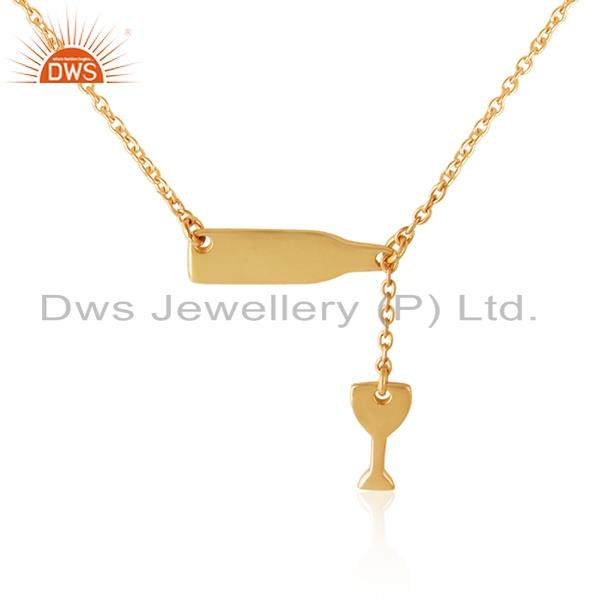 Wine pouring glass statement necklace in yellow gold on silver