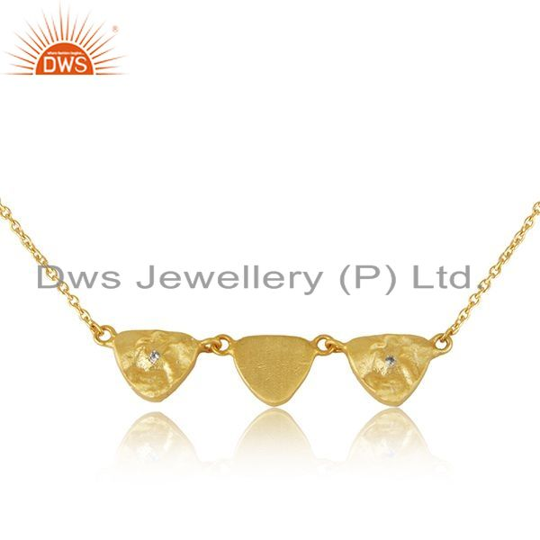 Exporter Indian Handmade Sterling Silver Gold Plated Zircon Chain Necklace