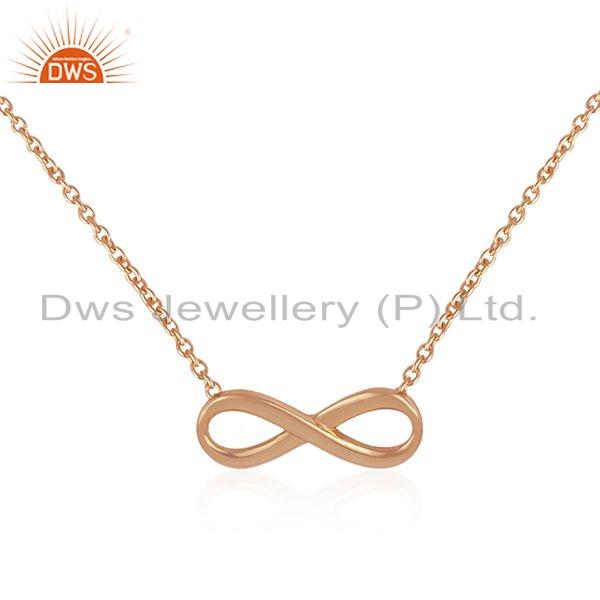 Exporter Rose Gold Plated Silver Infinity Shape Womens Chain Necklace Jewelry