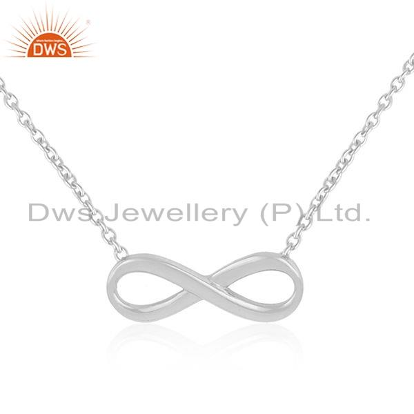 Exporter White Rhodium Plated 925 SIlver Infinity Design Chain Necklace Jewelry
