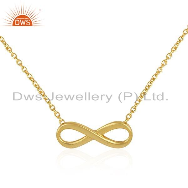 Exporter Infinity Design 18k Gold Plated 925 Silver Girl Chain Necklace Jewelry