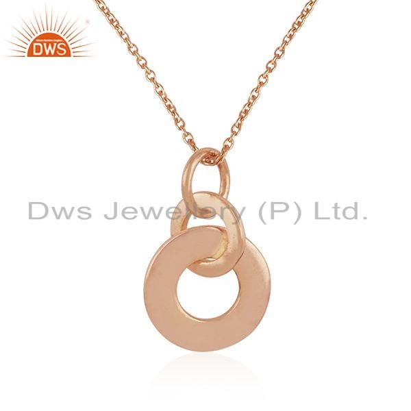 Exporter Rose Gold Plated Silver Round Design Pendant Necklace Jewelry For Girl