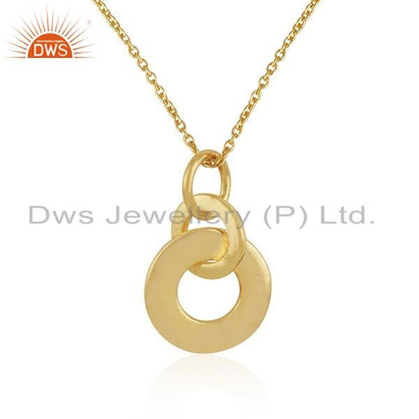 Exporter Gold Plated Plain Silver Round Design Link Pendant Necklace Jewelry