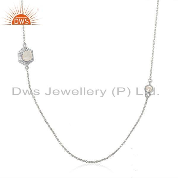 Exporter 925 Fine Silver Zircon Rainbow Moonstone Gemstone Necklace Jewelry
