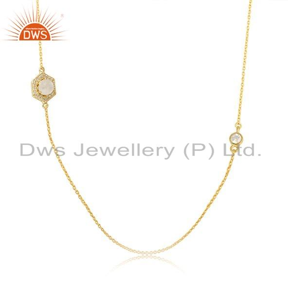 Exporter Rainbow Moonstone CZ Gemstone 18k Gold Plated Silver Necklace Jewelry