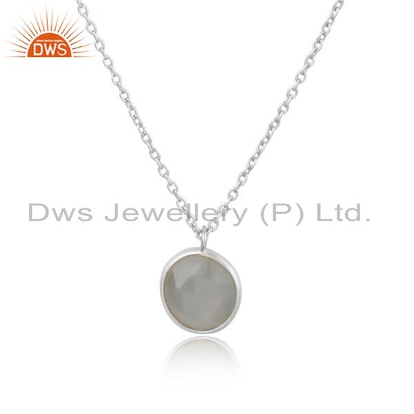 Exporter Gray Moonstone Gemstone New Sterling Fine Silver Chain Necklace