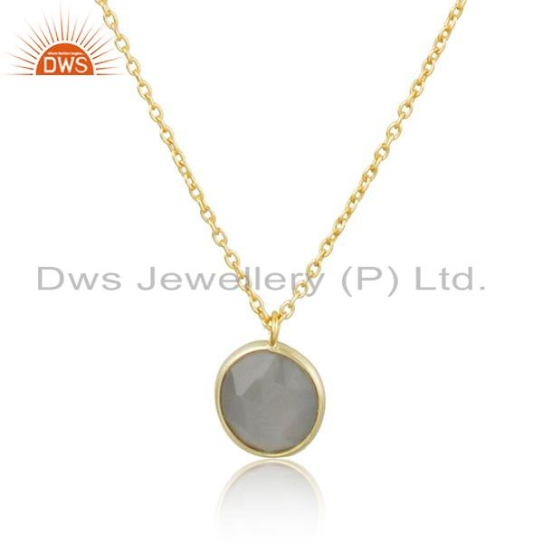 Exporter Gray Moonstone Gemstone New Look Gold Plated Silver Chain Necklace