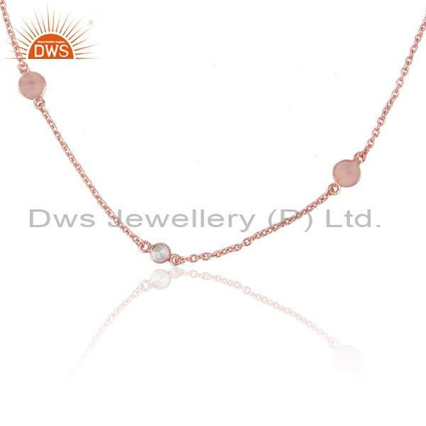Multi charm sleek necklace in rose gold plated silver 925 and cz