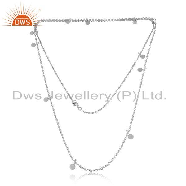 White rhodium plated designer 925 sterling plain silver necklaces