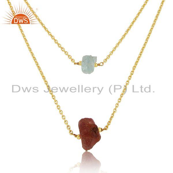 Exporter Sun Stone Aqua Chalcedony Womens Gold Plated Silver Necklace