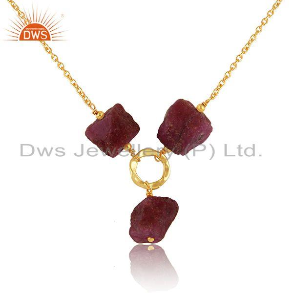 Exporter Natural Ruby Gemstone Designer Silver Gold Plated Chain Necklace